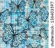 Gray-blue checkered pattern with blue butterflies and translucent balls in style grunge (vector eps10) - stock vector