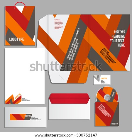 Gray corporate identity template. Vector company style for brandbook and guideline.