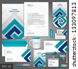 Gray corporate identity template with blue elements. Vector company style for brandbook and guideline. EPS 10 - stock vector