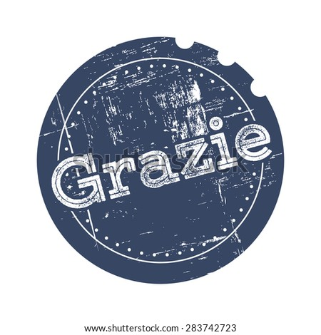 Grazie blue rubber stamp/vector illustration in retro style