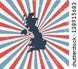 Great Britain on the map - stock photo