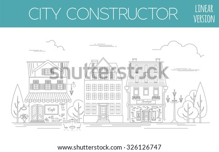 Hand drawn houses black white vector stock vector for House map creator