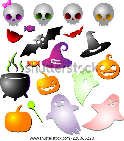 Great set of cute kawaii multicolored objects with shadow for Halloween: pumpkin, Ghost,  pot, hat,  candy, bat,  skull