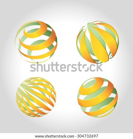 green and orange set icons globe  of the planet on white background