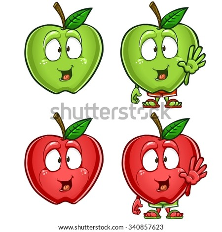 green and red apple clipart. green and red apple cartoon character set with different emotions poses isolated on white background clipart