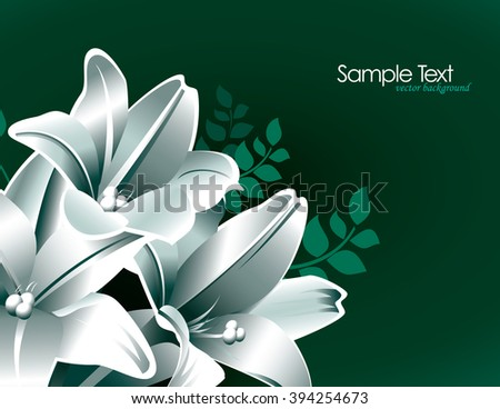 Green Background with Lily Flowers.