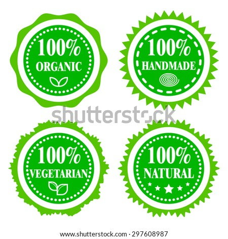 Green badges, stickers, logo, stamp. Hundred percent organic, vegetarian, natural and handmade. Modern bright flat design.