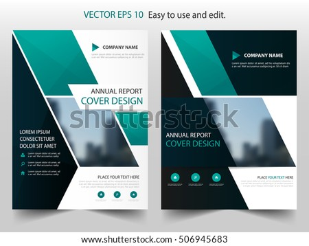 Blue Square Annual Report Brochure Flyer Stock Vector