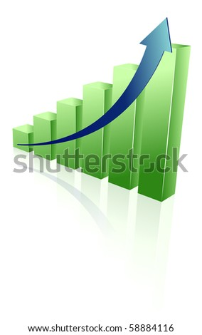 green chart reflected isolated on white background