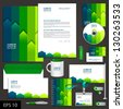 Green corporate identity template with color stripes. Vector elements for brandbook and guideline. EPS 10 - stock vector