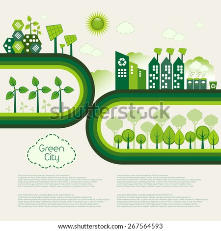 green eco city living concept stock vector 515049976 shutterstock. Black Bedroom Furniture Sets. Home Design Ideas