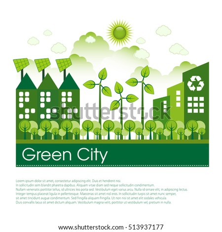 Green Eco city living concept. Copy space for your text.