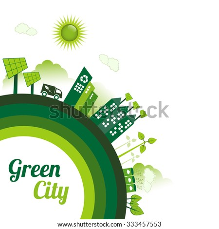 Green Eco city living concept with copy space.