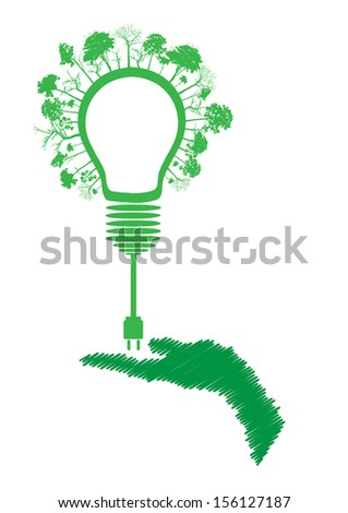 green eco energy concept, plant growing on light bulb