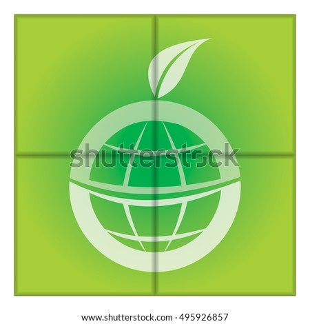 Green eco world, globe illustration with leaf