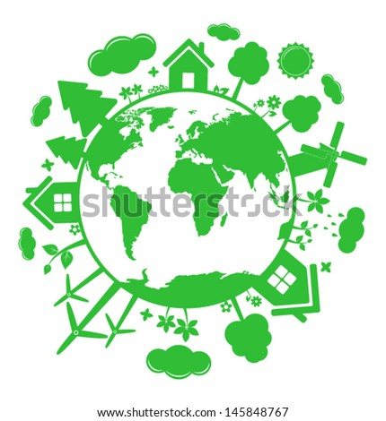 Green ecology icons over planet