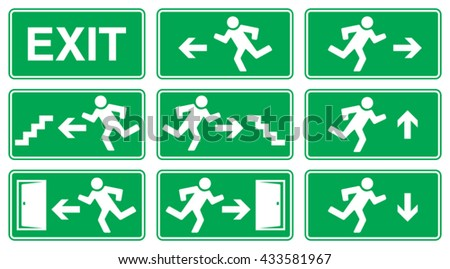 Green Emergency Exit Sign, Icon and Symbol Set