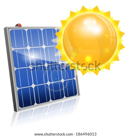 Green Energy Concept with Solar Panel and Sun, vector isolated on white background