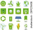 Green energy icon set hi detailed - stock vector