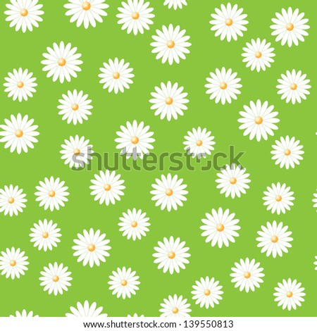 green field of daisies. seamless pattern. eps 10