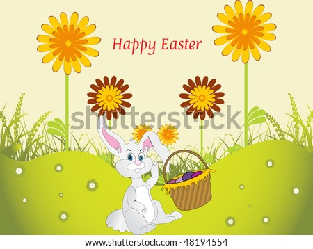 green garden background with bunny egg basket