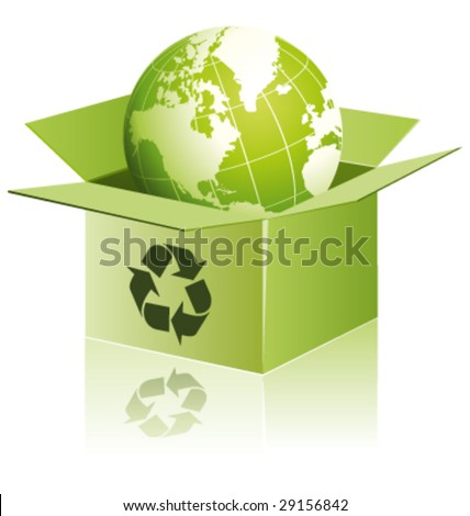Green globe in a recycling shipping box vector