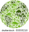 Green globe outline made from birds, animals and flowers icons - stock photo