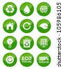 Green glossy buttons set - recycling, ecology, bio, green power, footprint - stock vector