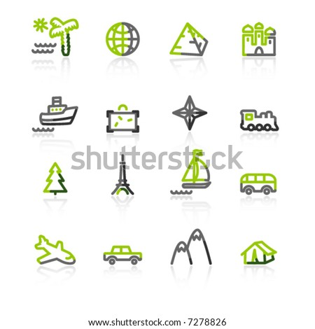 green-gray travel icons