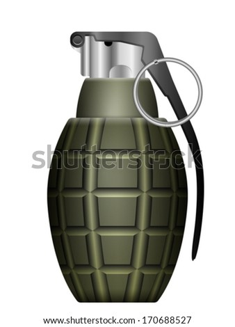 Green grenade on a white background.