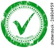 Green grunge approved stamp on a white background. Vector illustration. - stock photo