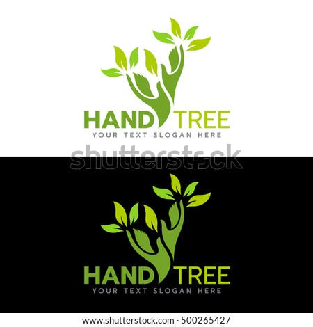 Green hand tree logo vector illustration design