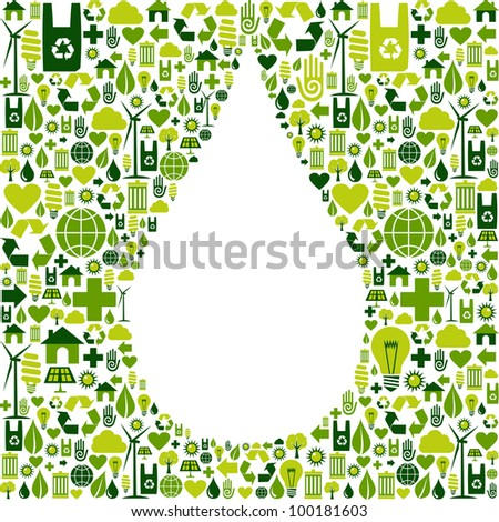 Green icon set in drop shape background. Vector file available.