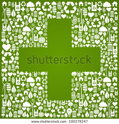 Green icons set with cross background. Vector file available.