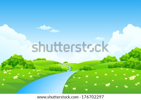 Green Landscape with Trees, Clouds, Flowers and River