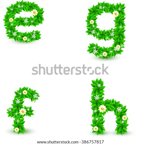 green leaf and flowers small font vector set, e f g h font, Environmental alphabet