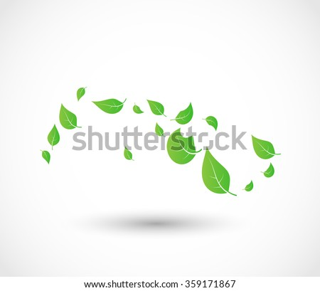Green leaves flying with the wind vector