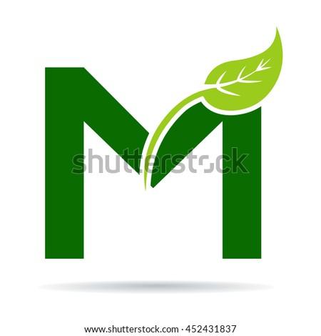 green eco letter m logo template stock vector 427083655