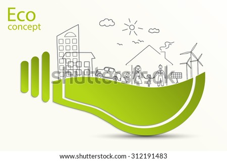 Green light bulb idea, creative drawing ecological concepts, With happy family stories, idea, Vector illustration. Doodle