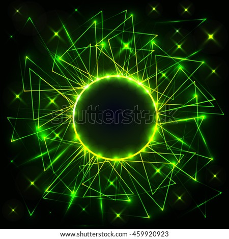 Green neon circle with triangles. Vector futuristic technical background. Light and neon particles. Vector illustration.