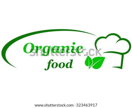 green organic food sign with chef hat and leaf