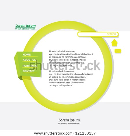 green origami website template design. vector origami style site.