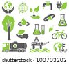 Green planet symbols, ecology concept - stock photo