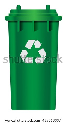 green plastic recycle bin vector illustrations
