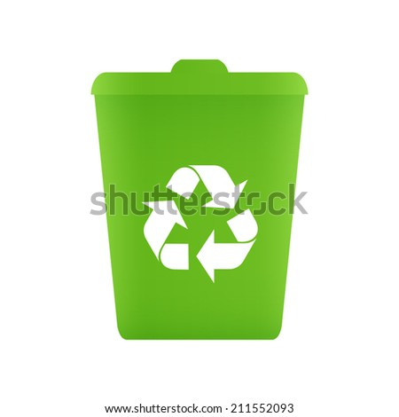Green recycle bin icon - Vector