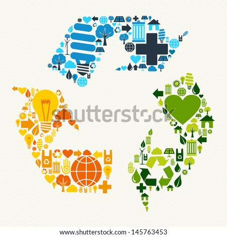 Green recycle plus love eco friendly set. Vector file layered for easy manipulation and custom coloring.