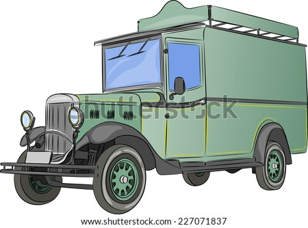 Green retro lorry van isolated on a white background