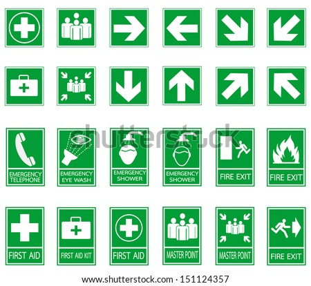 Set Emergency Fire Exit Emergency Assembly Stock Vector