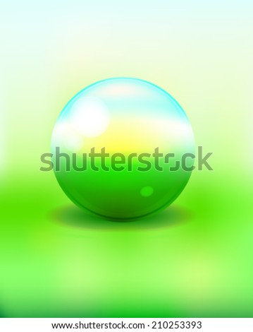 green sphere with nature sky grass and sun