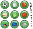 Green sport buttons - stock vector